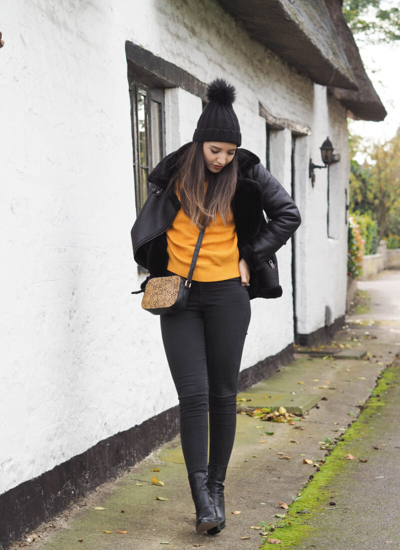 A mustard jumper & the aviator jacket everyone loves